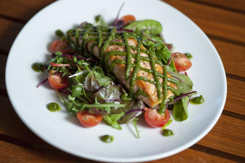 Salmon Salad Caramel Restaurant Lounge